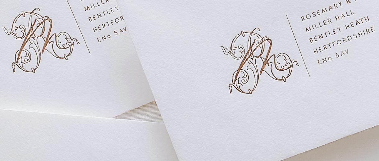Gold Foil printed RSVP addressed envelopes